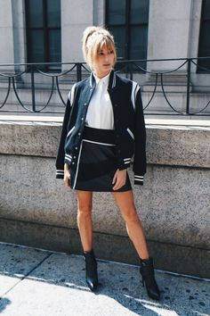 Varsity jacket & black mini