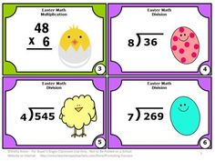 Easter FREE: Math Multiplication & Division- Here is a set of 6 Easter free math task cards for students in 4th and 5th grade. Students will practice division with 2-3 digits by 1 digits and multiplication of 2-4 digit by 1-2 digits. A student response division form and answer key are also provided.