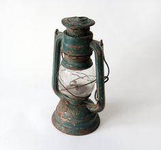 Green rusty Kerosene vintage Lantern Lamp  railroad by wwvintage, $35.00