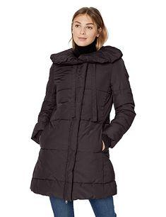 225b2d045da Lark & Ro Women's Long Shawl Pillow Collar Puffer Jacket, Black, X-Large