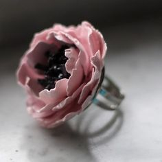 Paper flower ring.....Blush Envy at Etsy......love this!