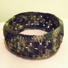 "SALE Handmade Camouflage headband Circum:~21"". Length:~3"". 100% acrylic Handmade Accessories Hair Accessories"