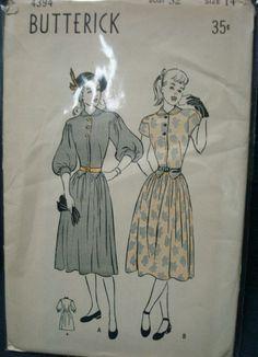 1940s Drop Shoulder Dress Dirndl Skirt Pattern by kinseysue, $26.00