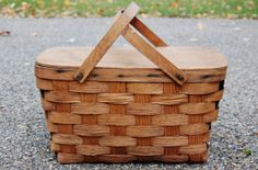 Wood Picnic Basket, Vintage Picnic Basket, Woven Ash Splint with Solid Wood Top - SOLD!