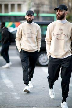 Dany Dos Santos and Maxime Schawb in Drole de Monsieur sweatshirts. Photo: Imaxtree