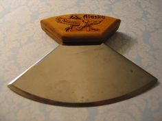 Vintage Souvenir Alaska Eskimo Ulu Knife Carved Wooden Handle Eagle Motif