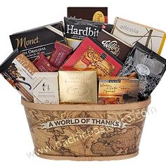 A WORLD OF THANKS Corporate Gift Baskets, Corporate Gifts, Gourmet Gift Baskets, Canada, Customized Gifts, Thankful, Food, Personalized Gifts, Eten