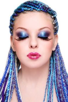 Portrait of young beautiful girl with fancy blue hairstyle and extra long fake eyelashes, on white background Body Makeup, Beauty Makeup, Hair Makeup, Hair Beauty, Makeup Eyes, Mermaid Makeup, Fake Eyelashes, Fantasy Makeup, Eye Make Up