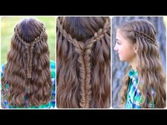 Tutorial on how to do the Scissor Waterfall Combo. #hairstyles #CuteGirlsHairstyles #CuteGirlHair #Braid #Braids #waterfallbraid