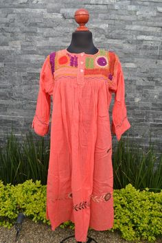 Traditional Mexican Huipil Dress ~ Blue Chiapas Dress ~ Dress with Embroidered Flowers ~ Floral Design Dress ~ Cotton Dress~Gifts for Women Mexican Embroidered Dress, Embroidered Clothes, Embroidered Flowers, Traditional Mexican Shirts, Pink Dress, Blue Dresses, Mexican Skirts, Floral Dress Design, Maxi Styles