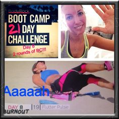 """Day 8 - i just say """"Yeah yeah yeah!"""" :-D So many people write that they go for 3 or 4 rounds.i tried it today. 2 rounds of the bootcamp and 1 round of the burnout. The flutter pulse made my abs burning! 21 Day Challenge, Body Rock, I Tried, Abs, Challenges, Baseball Cards, Workouts, People, Free"""