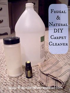 Homemade Natural Carpet Cleaner:  Supplies:      White vinegar      Baking Soda (not baking powder– there is a difference!)      Lemon essential oil (optional– I use doTERRA essential oils exclusively in my home)      Old towels or rags