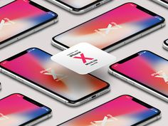 Free iPhone X Psd Mockup Isometric by Pixeden