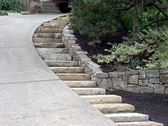 Single Stone Steps by Steep Driveway-my property is so badly in need of this solution!