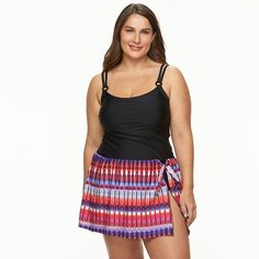 Plus Size Croft & Barrow® D-Cup Ikat Swimdress
