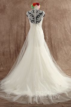 Classic Trumpet-Mermaid High Neck Court Train Tulle Ivory Zipper With Button Wedding Dress with Appliques LWWT15001 #weddingdresses #cocomelody