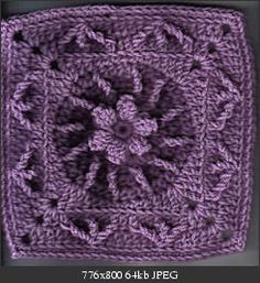 Flower & Trebles Square ~ free crochet pattern