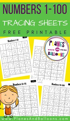 Free printable number tracing worksheets 1-100