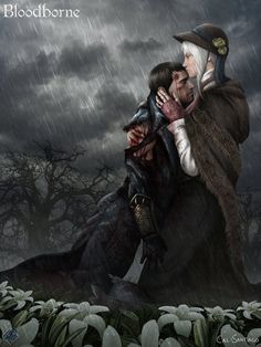 Fan illustration of the Hunter and the Plain Doll from Bloodborne. Bloodborne © From Software, SCE Japan Studio