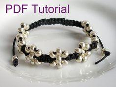 PDF Tutorial Beaded Flowers Square Knot Macrame Bracelet Pattern, Silver Sead Bead Adjustable Friendship Slider Bracelet