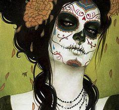 day of the dead, dia de muertos, digital, face, illustration, make up