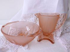 Stölzle Art Deco Pink Glass Creamer and by CuriosAnCollectibles,