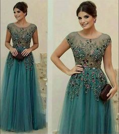 A-line Scoop Floor-length Short Tulle Prom Dress/Evening Dress # - Vestidos A Line Prom Dresses, Tulle Prom Dress, Homecoming Dresses, Formal Dresses, Mother Of Groom Dresses, Applique Dress, Evening Dresses, Fashion Dresses, Fashion 2018