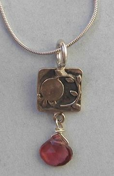Angie Olami Pomegranate Pendant Necklace with Garnet ~ Handmade in Israel / Jewish Gift Place