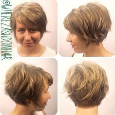 Short stacked wavy bob for fine hair