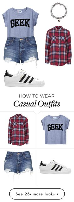 """""""casual outfit"""" by rchlwg on Polyvore featuring Topshop, adidas Originals, Accessorize, women's clothing, women, female, woman, misses and juniors"""