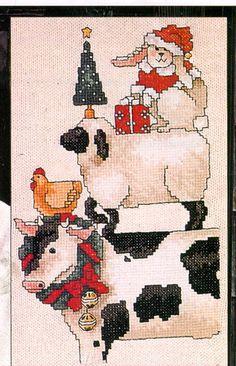 Charming Sandi Gore Evans WELCOMING CHRISTMAS Farm Animals Cross Stitch Pattern