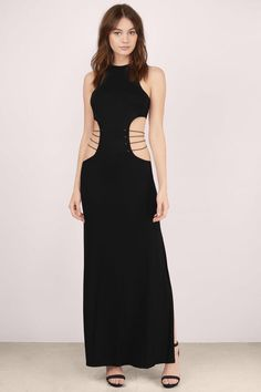Sexy black maxi dress with cutouts at the waist to give it some shape