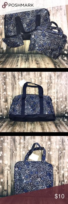 """3 pc blue paisley travel set NWT This is boutique brand 3pc travel set. This is medium thickness material, Not as thick as most heavy luggage, more like duffle bag thickness. It has a cute paisley pattern. Perfect for a weekend getaway!!  Big bag - length 18.5"""" height 10"""" width 5.5"""" Middle size- length 12"""" height 9.5"""" width 4""""  SMALL- length 7 1/4"""" boutique Accessories"""