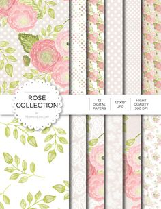 """Digital Paper - Rose Collection - Instant Download - Digital Artwork by mormonlinkshop  5.00 USD  Digital paper is a bit of a misnomer as no paper is involved! You can use these JPEG versions of 12""""x12"""" papers to create backgrounds photo mattes die-cuts etc. just as you would have used a traditional piece of paper. Of course you're able to use these over and over again no longer will you worry about making the """"wrong cut"""" and wasting your supply. Great for all ages classes activities etc…"""