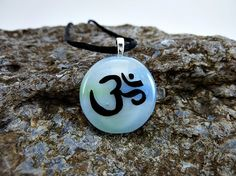 Om Pendant, Om Necklace, Meditation Jewelry, painting, fused glass, 027