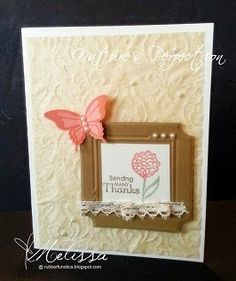 RubberFUNatics, Stampin Up Nature's Perfection, Very Vanilla, Baked Brown Sugar, Crisp Cantaloupe, beautifully baroque embossing folder, fun frames embossing folder, elegant butterfly punch (paper spritzed with water before running through big shot)