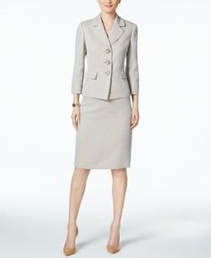 Le Suit Herringbone Three-Button Skirt Suit - Tan/Beige 18 Button Skirt, Working Woman, Skirt Suit, Herringbone, Work Wear, Dresses For Work, Buttons, Beige, Suits