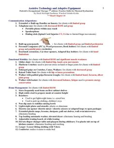 Assistive Technology and Adaptive Equipment Pedretti's Occupational Therapy 7th edition ***Read Chapter 10 (these notes cover up to Hemiplegia)   Page 3