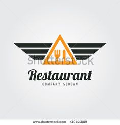 Food Logo Template. Vector Illustration. Fork and Spoon icon with wings. Flat Design. food logo,cooking logo,vector logo template. Food badge icon.