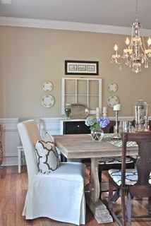 rustic neutral glam dining room