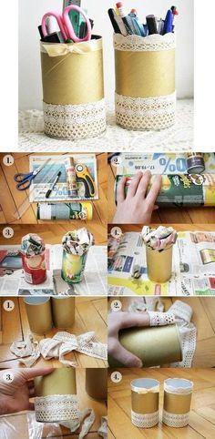 DIY Nice Lace Pencil Holder  #stationary