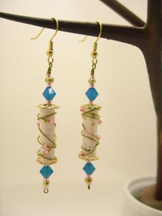 White blue pink and gold wire wrapped paper bead by LishasPBJs, $18.00