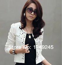 moda blanco y negro 2014 otoño primavera abrigos de mujer mujer corta chaqueta con señoras remache chaqueta chaqueta ropa barata(China (Mainland))