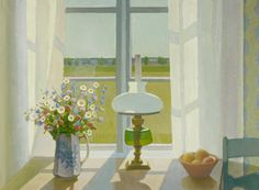 Veikko Vionoja, Kesäikkuna | Summer window by Finnish artist Veikko Vienoja Modern Art, Contemporary Art, Swedish Interiors, Nordic Lights, Paint Photography, Through The Window, Photorealism, Scandinavian Interior, Conceptual Art