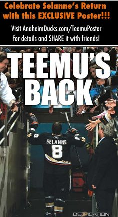 Sweet Teemu poster available through the Anaheim Ducks! Click for more info..