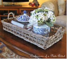 CONFESSIONS OF A PLATE ADDICT: Pottery Barn Inspired Rustic Coffee Table Tray