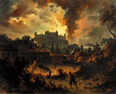 Salzburg fire the Fortress in 1849 by Georg Pezolt. Salzburg, Museum, Dark Art, Moonlight, Landscape Paintings, Sunrise, Fire, Fine Art, Landscape Photos