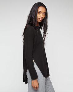 Jigsaw Black Silk Tencel Slit Sweater