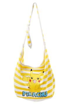 Compra Pokemon Pikachu Yellow White Stripe Hobo Bag - en Wish- Comprar es divertido Hobo Handbags, Purses And Handbags, Pikachu, Hot Topic Clothes, Badass Outfit, Yellow Purses, Cute Bags, Hobo Bag, Purse Wallet