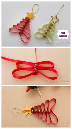 DIY Easy Ribbon Bead Christmas Tree Ornament tutorial with one ribbon and severa. DIY Easy Ribbon Bead Christmas Tree Ornament tutorial with one ribbon and severa. Christmas Tree Decorations Ribbon, Easy Christmas Ornaments, Christmas Crafts For Kids, Holiday Crafts, Christmas Diy, Christmas Ribbon Crafts, Easy Ribbon Crafts, Diy Crafts, Ribbon Diy